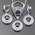 Round Black Safira Criado Branco 925 Tira Esterlina Conjuntos de Jóias de Topázio Para As Mulheres Brincos/Pingente/Colar/Anéis Caixa livre
