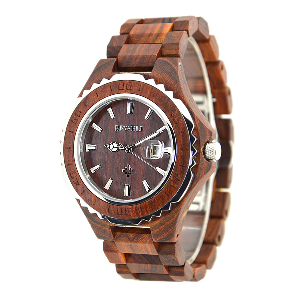 BEWELL Wood Watch Men Analog Display Date Relogio Masculino Quartz Mens Watches top brand luxury Waterproof Wristwatch 30M bewell luxury brand wood watch men analog digital movement date waterproof male wristwatches with alarm date relogio masculino