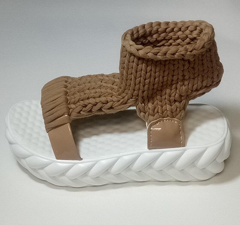 Вязаные сандалии, женские сандалии-гладиаторы на платформе, модная женская обувь, однотонные, повседневные, летние, на плоской подошве,, с открытым носком, вязаные вьетнамки - Цвет: brown