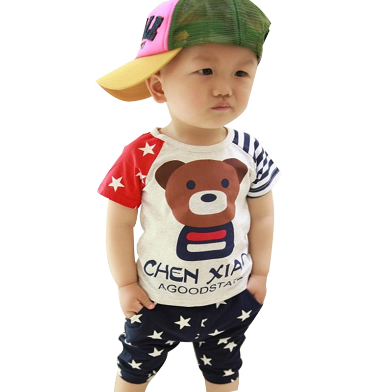 Hot 2015 new Fashion Korean 100% cotton Summer one-sets clothing set 7-24 Months for baby clothing girls/ baby boys sets korean fashion shop 7th 6388 2015