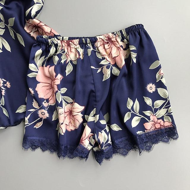 QWEEK Sleep Lounge Pajama Set Sexy Satin Sleepwear Women Summer Pyjama Femme Fashion Flower Pajamas for Women with Chest Pad 6
