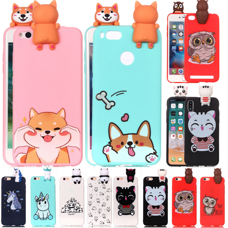 2019 Latest Design 3d Fashion Cartoon Unicorn Cat Dog Owl Panda Soft Silicone Case For Xiaomi A1 5x Redmi 4x 5a Note 5 Cute Animal Tpu Rubbe Cover