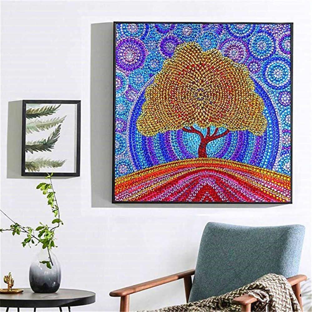 HUACAN Özel Şekil Elmas Mozaik Ağacı DIY Elmas Nakış Satış Elmas Boyama 5d Resim Rhinestone Manzara El Yapımı