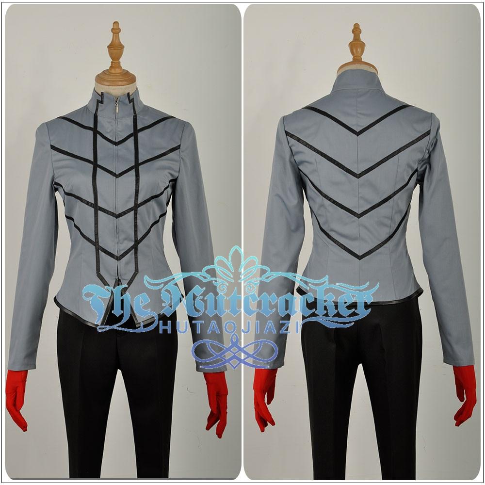 In Stock Persona 5 Hero Joker Phantom Thief Male Versions Cosplay Costume Custom Made Long Black Trench Shirt Pants Red Gloves