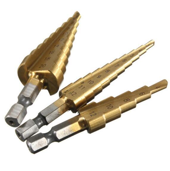 3pcs HSS Titanium Coated Step Drill Bit Metal 3-12mm 4-12mm 4-20mm Cone Cut High Speed Steel Wood Drilling Power Tools