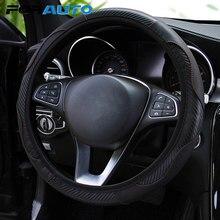 FORAUTO protector para volante de coche de fibra de carbono de coche del cuero de la PU-estilo antideslizante volante cubre transpirable adecuado para 37-38cm