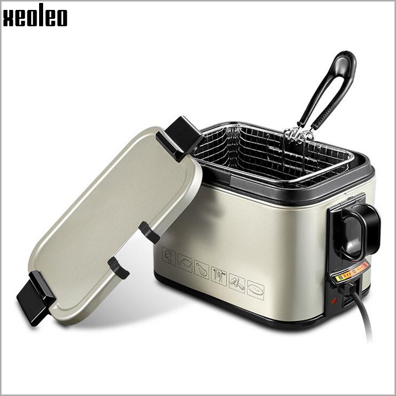 Xeoleo Multi-functional Electric fryer Home use Deep Fryers 2L Single cylinder French Fries machine Fuel-efficient Frying pan 1pc stainless steel commercial electric deep fryer frying machine high power deep fryers fast heating french fries ect