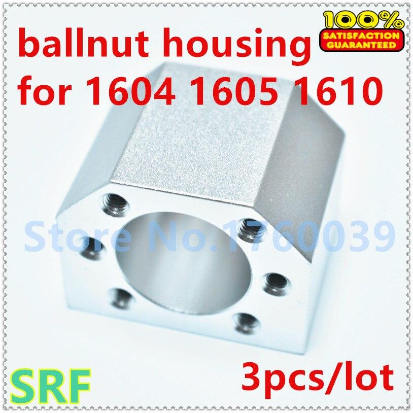 Free shipping 3pcs/lot Aluminium Alloy 1605 Ball nut housing bracket holder for SFU1604 SFU1605 SFU1610 Ball screw