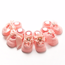 0-3 Year Newborns Girls Anti Slip Socks Princess Birthday Gifts for Baby Clothing Toddler 3 Pair Cotton Lace Infant