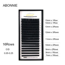 ABONNIE 16rows/case,7~17mm mix in one tray, high quality synthetic mink,natural mink,individual black eyelash mink keer 7 41