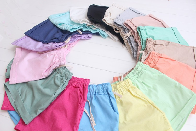Summer Style Shorts Women Candy Color Elastic With Belt Short Women 45