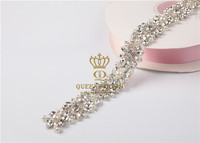 2017 Wholesale Iron On Silver Bridal Beaded Crystal Rhinestone Applique Trim For Wedding Dress Sash Belt