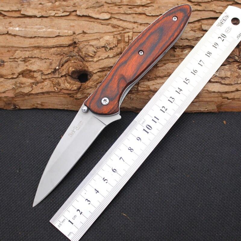 Hot Folding font b Knife b font DUCK 420 Steel Blade Wood Handle Survival Knifes Pocket