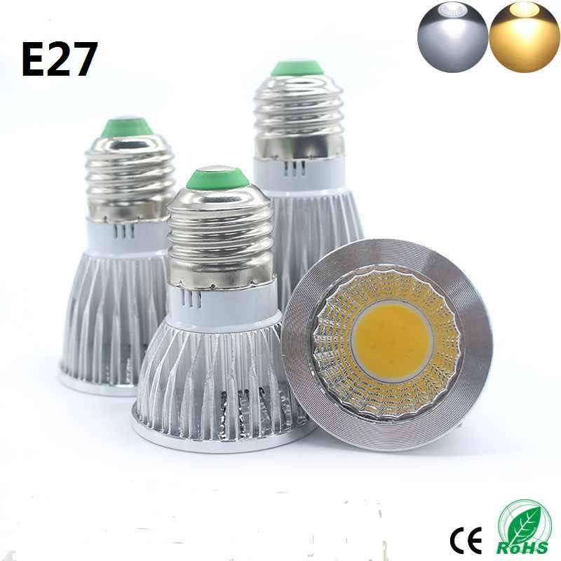 E27 LED COB זרקור Dimmable led מנורת E14 GU10 MR16 GU5.3 15 w 12 w 9 w ספוט אור הנורה גבוהה כוח מנורת DC12V או AC85-265V