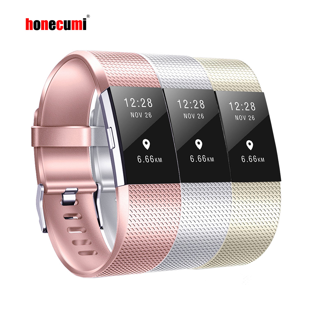 Honecumi Wrist-Band Watchband-Accessory Fitbit-Charge Rose-Gold/silver-Bracelet for 2-Tpu