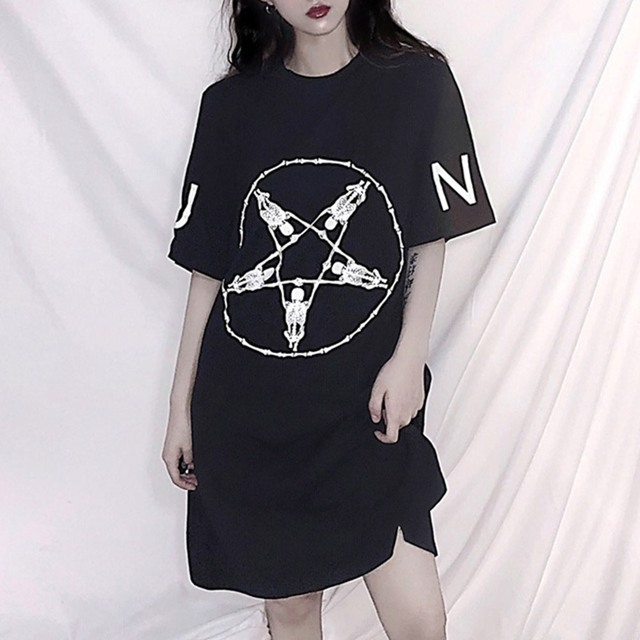 BF Style Black Long T-Shirt Women Trendy Letter Loose Dress