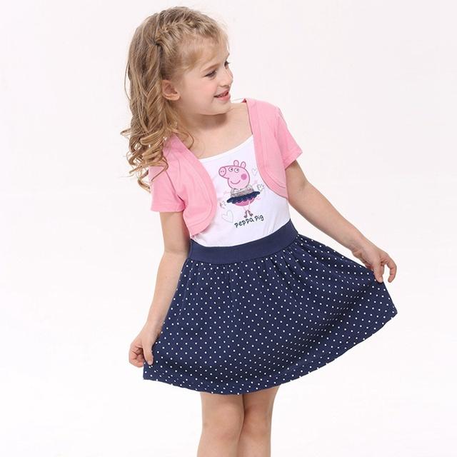Porco bonito de Uma Peça Vestido de Menina Vestidos Infantil Moda Meninas Vestidos de Verão 2016 Crianças Roupas Crianças Roupa Criança Outfits