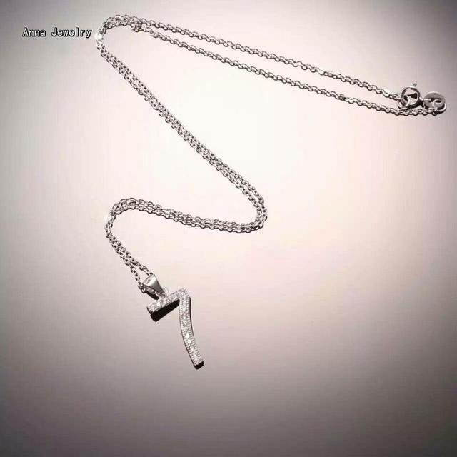 e1369184afc4 Nuevo diseño brillante de moda 925 Plata de Ley 7 8 9 collar de número en