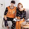 2016 осень и зима пижамы дамы зимой с длинными рукавами домашней одежды костюм осень фланель мужчины осенью и зимой дней утолщение