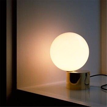 Nordic Modern Glass Ball LED Desk Lamp Art Minimalist Reading Lamp Bedroom Metal Decorative Study Light Moon Lamp Free Shipping