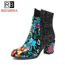 RizaBina Sexy Lady Real Genuine Leather Ankle Boots Zipper Flower Print High Heel Boots Warm Fur Shoes Women Footwear size 33-43