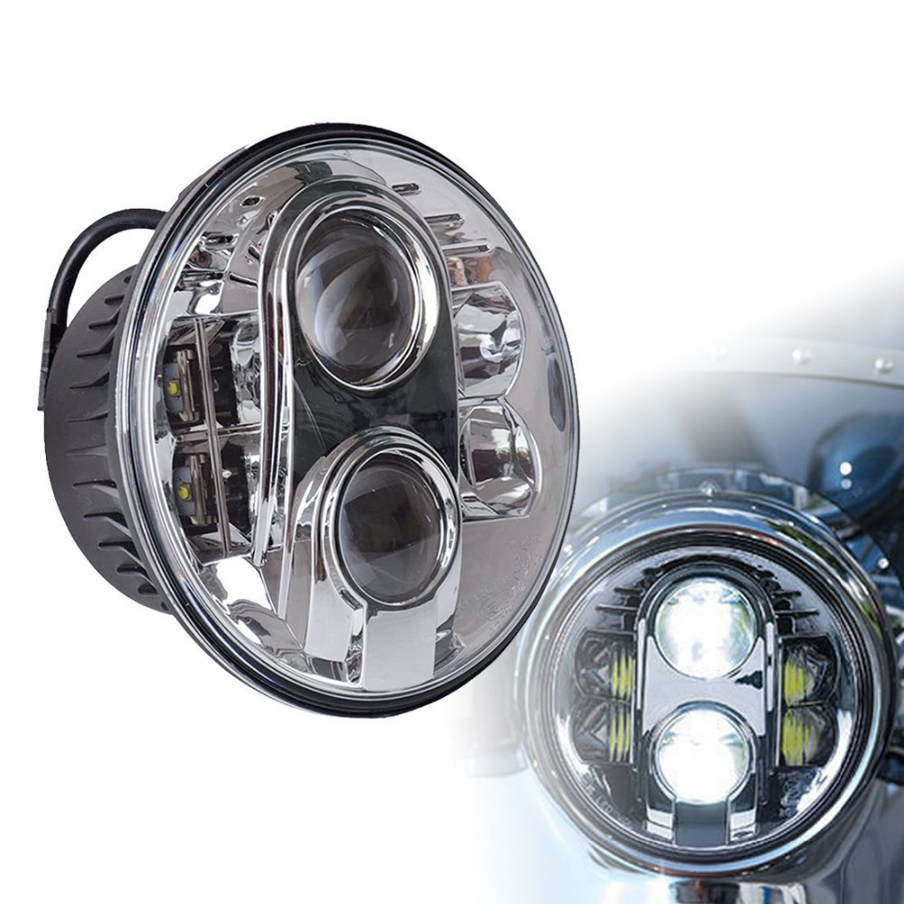 Motorcycle 7 Led Headlight 80W 7 Inch Round Hi/Lo Beam Led Headlamp Bulb Driving Lights DRL Lighting for Motorcycle Harley