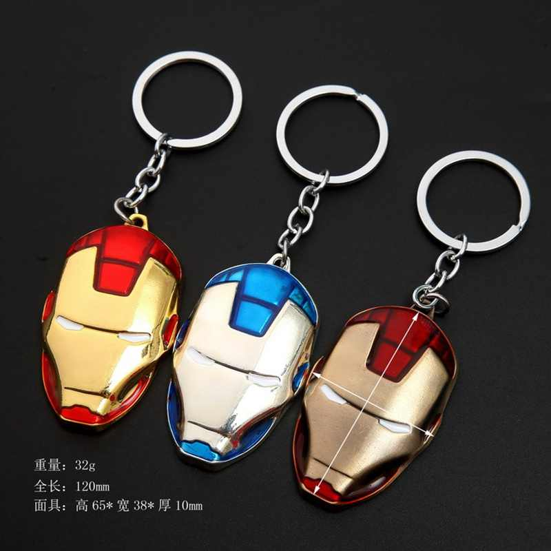 Marvel Super Hero Avengers Iron Man Mask Keychain ของเล่น Vintage แฟชั่นเคลือบโลหะจี้ Key chaveiro llaveros