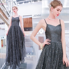 Sequined Evening Dresses 2019 New Elegant Spaghetti Strap Sweetheart Neck Formal Party Long Backless Prom Gowns robe de soiree