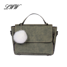 Fashion Trapeze PU Leather Bags Handbags Women Famous Brands Women Shoulder Bags Retro Designer Girl Crossbody Bag with Hairball