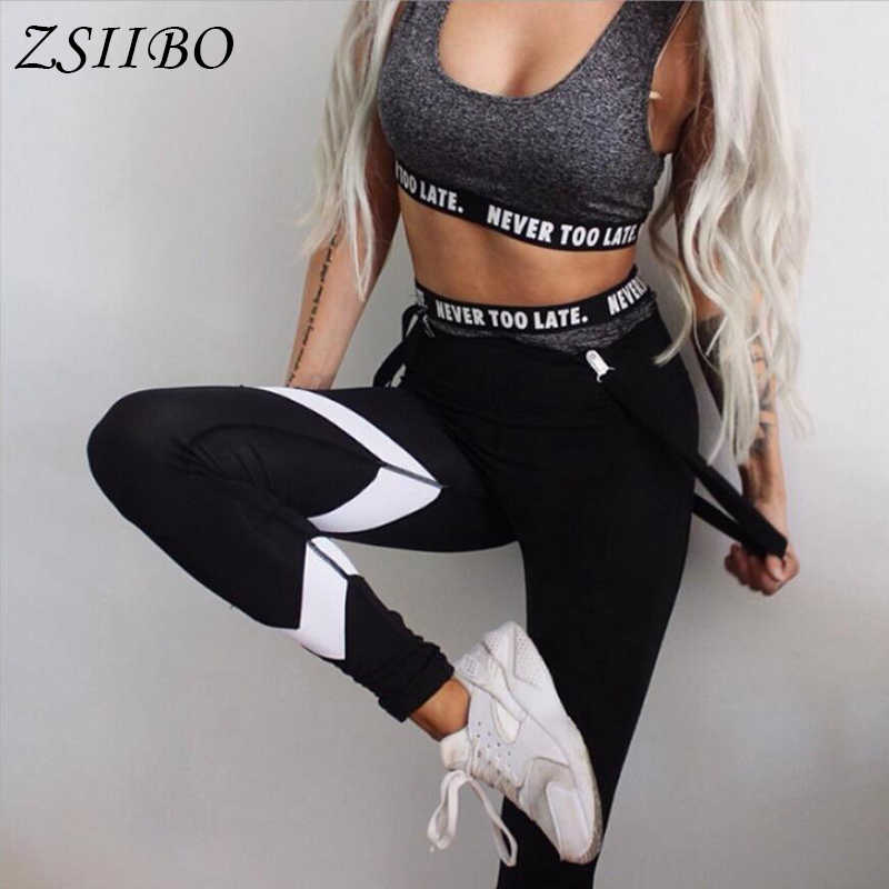 ZSIIBO Womens Sporting Leggings Black Print Workout Women Fitness Legging Pants Slim Jeggings Wicking Force Exercise Clothes