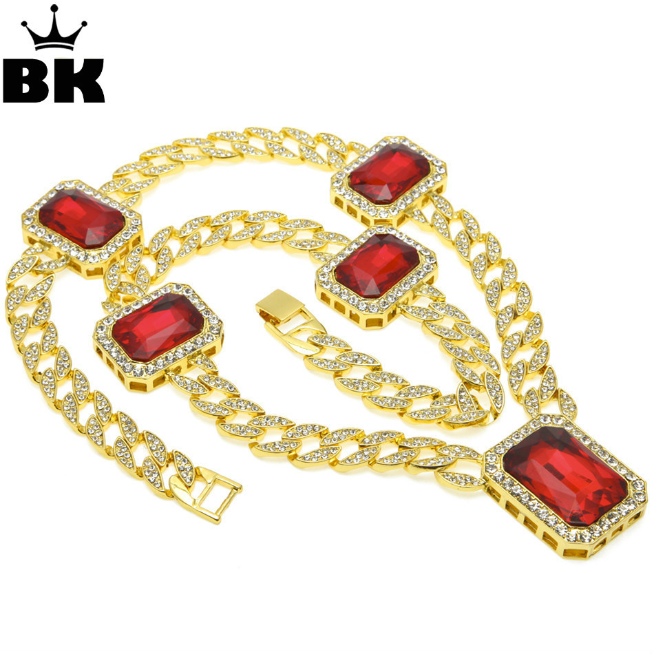 Bling Bling Chain Mens Gold Color Iced Out Red Rhinestone Octagon Hip Hop Pendant 30