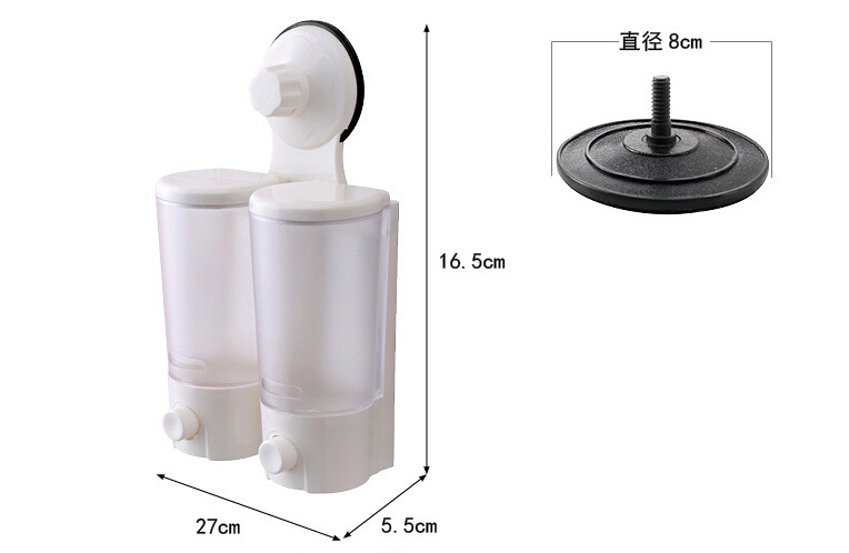 Wall Mounted Strong Suction Cup Double Hand Liquid Soap