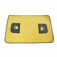 Pretty 70*100cm Cat Dog Bath Towel With Pockets Absorbent Pet Cleaning Towels Animal Blanket Hogard JY16