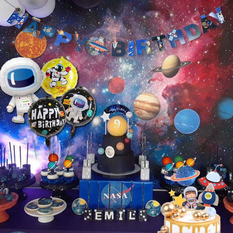 Outer Space Party Astronaut Rocket Ship Theme Cake Toppers Foil Balloons Galaxy Solar System Party Boy Birthday Supplies