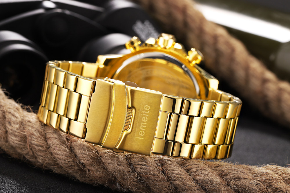 19 Top Brand Luxury Mens Oversize Watch Gold Business Steel Quartz Clock Waterproof Sport Military Chronograph Male Wristwatch 26