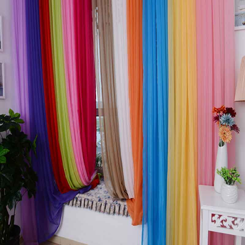 Solid Window Curtain tulle Yarn Sheer for Living Room the Bedroom Sheer Curtains Balcony Sun Shading Rod pocket type