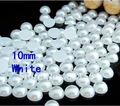 Free shipment!!10MM Acrylic/Plastic Imitation Half Pearl Round Flatback Beads 2000PCS White Color  for DIY Nail Jewelry!!