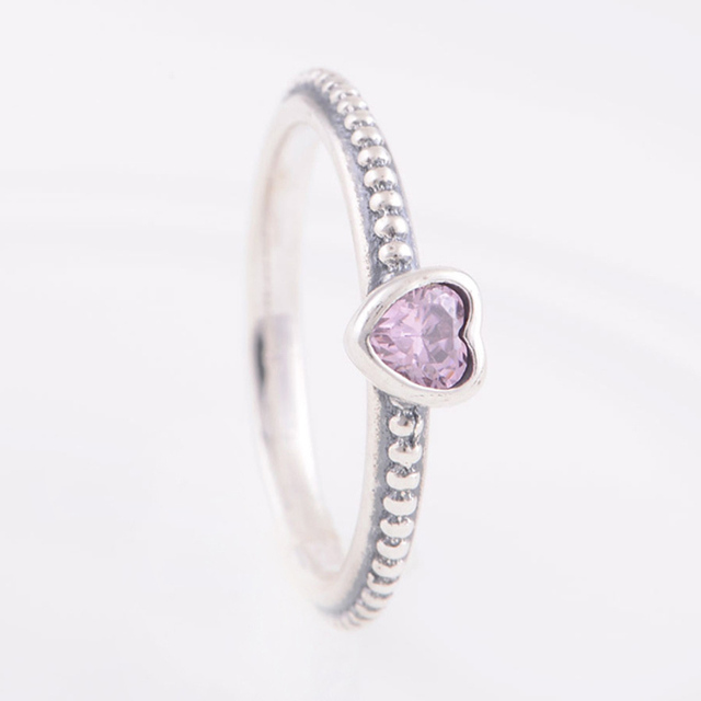 ac42d0cd3 Delicate Heart ring with Pink CZ Ring in 925 Sterling Silver Engagement  Rings Compatible with Pandora Style Fashion Jewelry