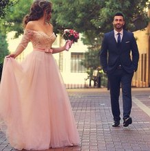 Princess Sweetheart Sleeve Pink Wedding Dress 2016 Fashion New Pearls Beaded Lace Off The Shoulder Tulle Bridal Gown