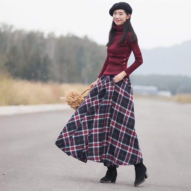 2b107d8e55c5 2018 Spring New Women Long Skirt Autumn Winter Wool Skirt Classical Vintage  Style Plaid Thick Warm Saias Longa
