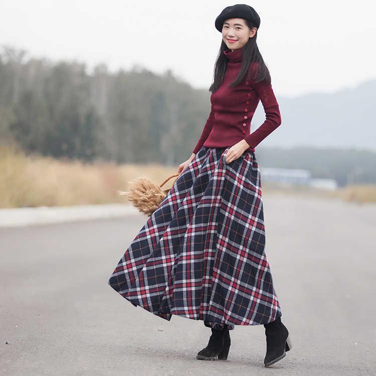 c0b0f35f7dc 2018 Весна Новая Женская длинная юбка осень зима шерстяная юбка Классическая  винтажная стильная клетчатая Толстая теплая
