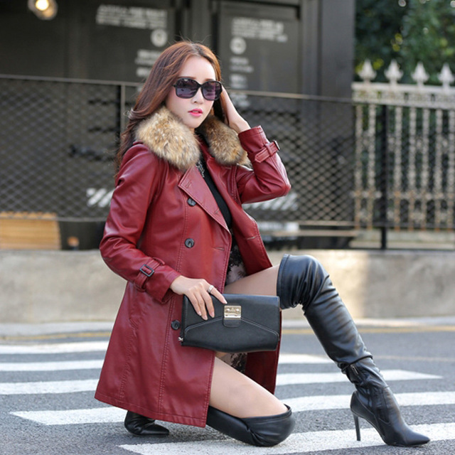 5aa9f739c1f97 Leather Coat women New Style Waist Separated Desigan Women Fur Collar  Leather Jacket Women suede Coat Female coat plus Size