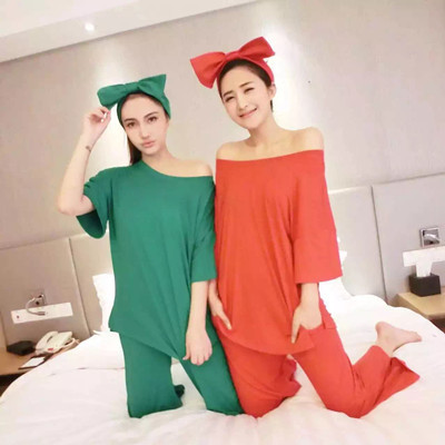Spring Korean Candy color solid Women SUMMER PAJAMAS SETS BOW HEADBAND Girls cotton pyjama suits simple fashion sexy TRACKSUIT