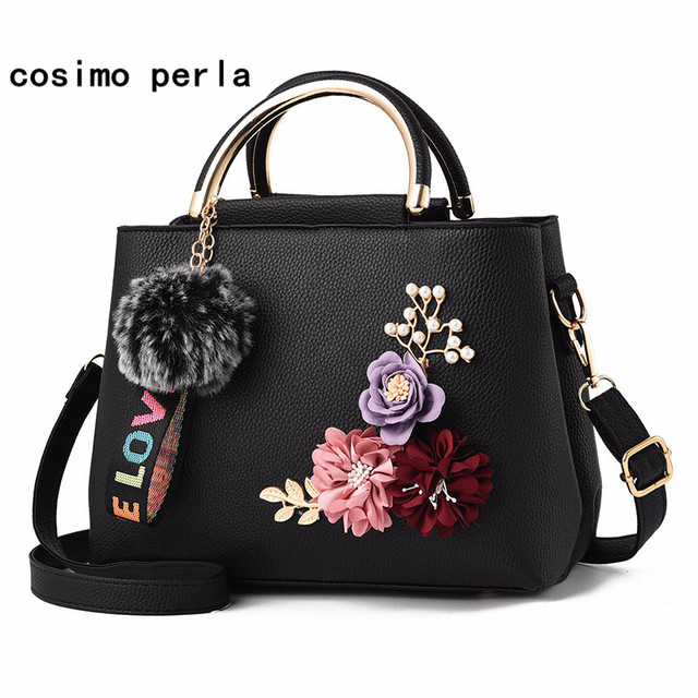 8f1f40dfee Women Leather Flower Shoulder Bag with Fur Ball Fashion Solid Crossbody Bags  3D Floral Handbags Small Luxury Causal Totes Female