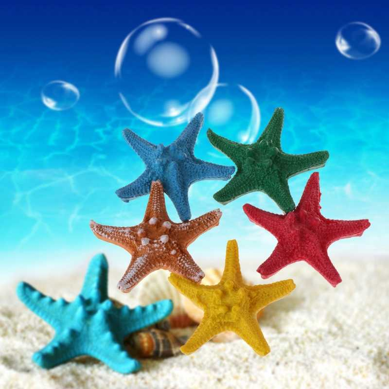 Fish Tank Artificial Starfish Decoration Aquarium Ornaments Hard Resin 5 Color JUL-28A