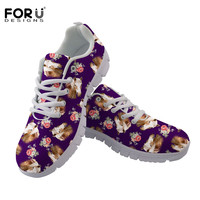 FORUDESIGNS Sneakers Women Casual Flats Autumn Shoes Woman Crazy Horse Floral Pattern Comfortable Mesh Ladies Lace up Shoes 2018