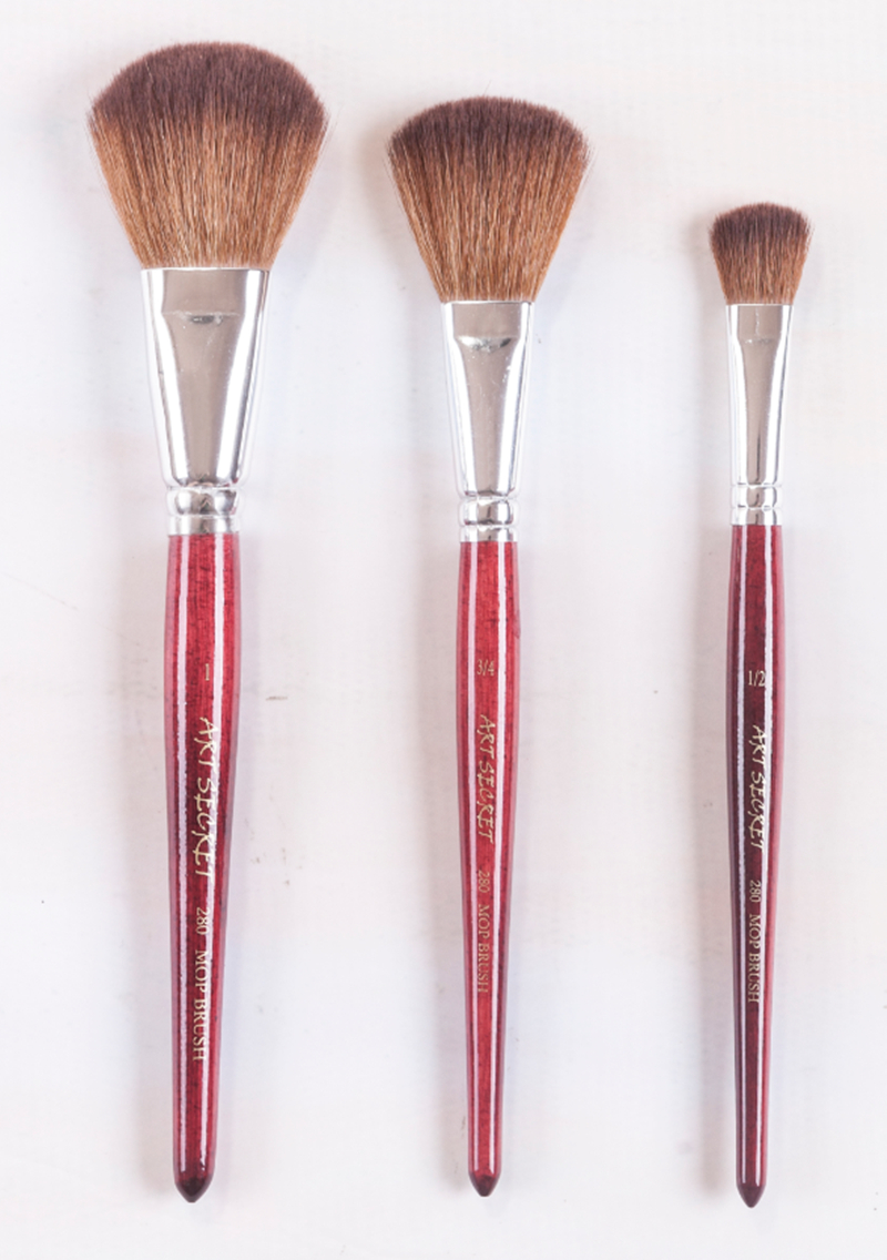 280MOP High Quality Korea Importing Synthetic Hair Short Wooden Handle Watercolor Acrylic Paint Art Supplies Artist Brush