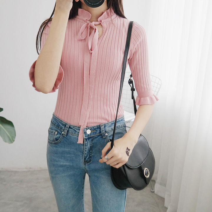 2019 New Preppy Style Women Wool Sweater Pullover Half Sleeve Basic Tops Ladies Slim Knitting Bow Tee Shirts Pull Femme 1373