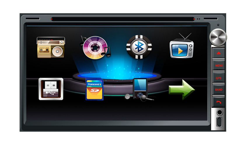 6.95 Inch Touch Screen 2 Din Car DVD Player with Audio Radio Stereo FM USB SD Bluetooth TV without GPS