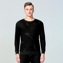 1 Piece Man Thermal Tops Winter Thick Brushed High Elastic Print Black Full Round Neck Quality Male Underwear